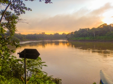 Dusk at Tres Chimbadas Lake in the Peruvian Amazon